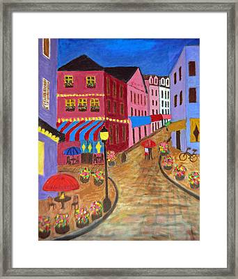 Framed Print featuring the painting Rainy Night In Paris by Mary M Collins
