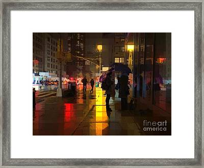 Rainy Night New York Framed Print