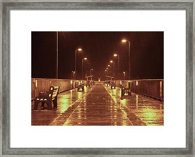 Rainy Night On The Pier Framed Print