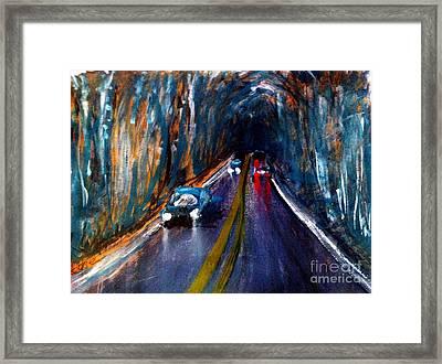 Rainy Night On The Road Framed Print by Sandra Stone