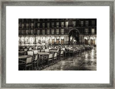 Rainy Plaza Framed Print