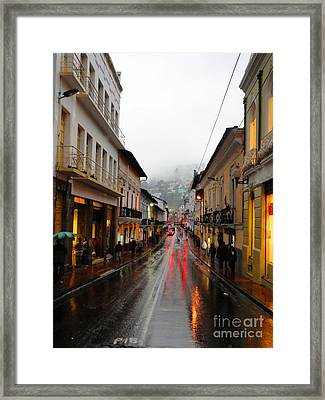 Rainy Quito Street Framed Print by Al Bourassa