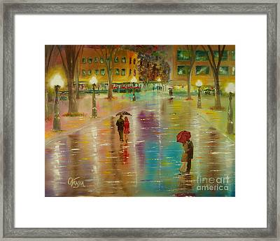 Framed Print featuring the painting Rainy Reflections by Chris Fraser