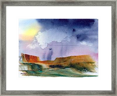 Framed Print featuring the painting Rainy Skies by Anne Duke