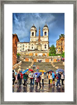 Rainy Spanish Steps Framed Print