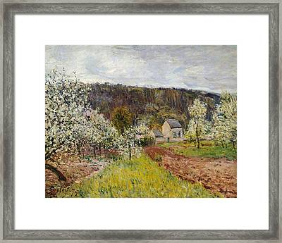 Rainy Spring Near Paris Framed Print by Alfred Sisley