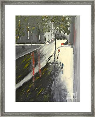 Framed Print featuring the painting Rainy Street In Melbourne by Pamela  Meredith