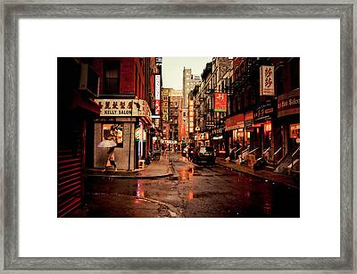 Rainy Street - New York City Framed Print