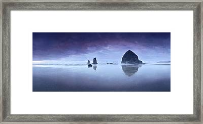Rainy Sunset Over Cannon Beach Framed Print
