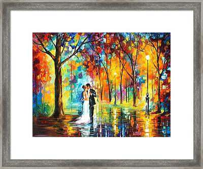 Rainy Wedding - Palette Knife Oil Painting On Canvas By Leonid Afremov Framed Print