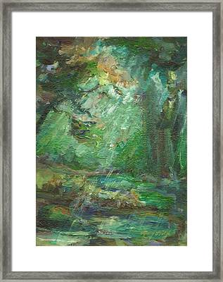 Framed Print featuring the painting Rainy Woods by Mary Wolf