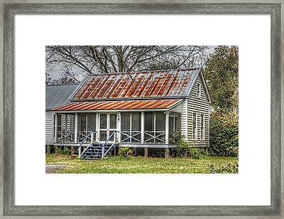 Raised Cottage With Tin Roof Framed Print by Lynn Jordan