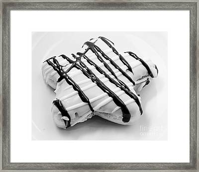 Raised Iced Star Shaped Donut - Chocolate Drizzles - Baker- Bakery - Bw  Framed Print by Andee Design