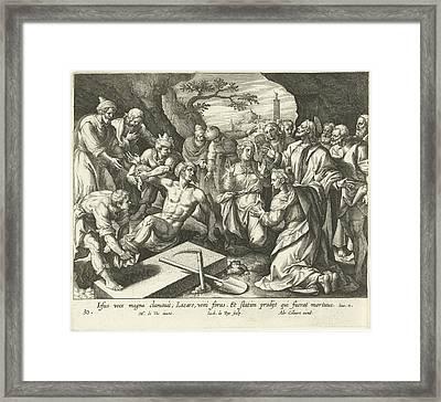 Raising Of Lazarus, Jacques De Bie, Adriaen Collaert Framed Print