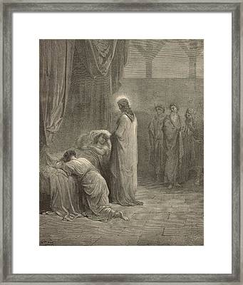 Raising The Daughter Of Jairus Framed Print by Antique Engravings