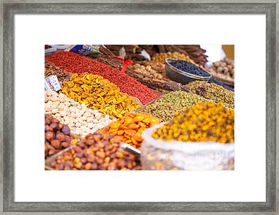 Raisins And Dried Fruit At Local Market Framed Print by Matteo Colombo