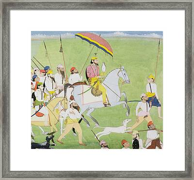 Rajah Dhian Singh Hunting Framed Print by Indian School