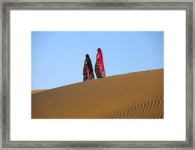 Rajasthani Women In Thar Desert Framed Print