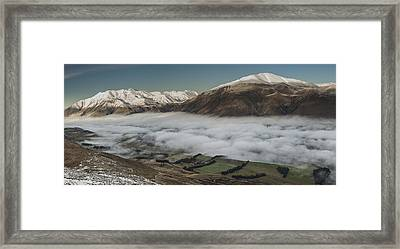 Rakaia River Valley Filled With Fog Framed Print by Colin Monteath