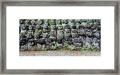 Rakan Sculptures At Otagi Nenbutsu-ji Framed Print by Panoramic Images