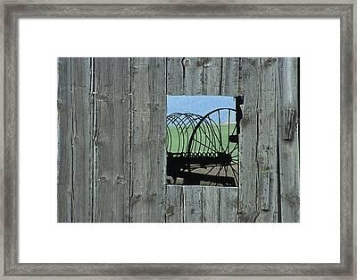 Rake And Barn Framed Print by Latah Trail Foundation
