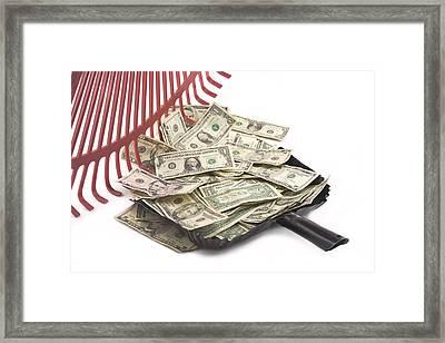 Rake Raking Up American Cash Money Framed Print by Keith Webber Jr