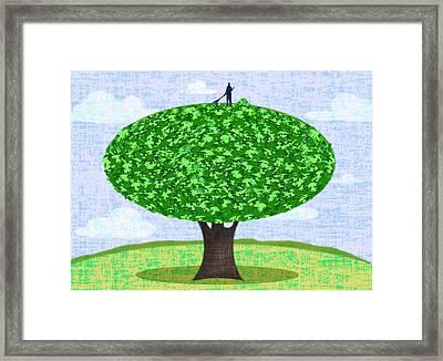 Raking Leaves Framed Print by Steve Dininno
