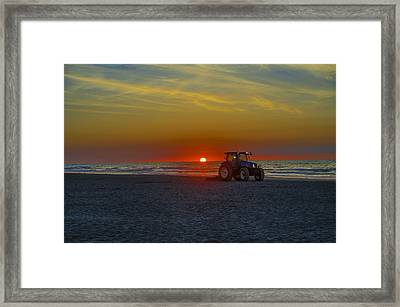 Raking The Beach At Dawn - Avalon New Jersey Framed Print by Bill Cannon