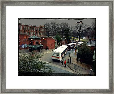 Raleigh Bus Terminal - Evening Framed Print by Paulette B Wright