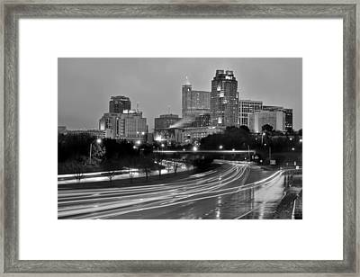 Framed Print featuring the photograph Raleigh Skyline At Dusk Evening Black And White Bw Evening Panorama North Carolina Nc by Jon Holiday