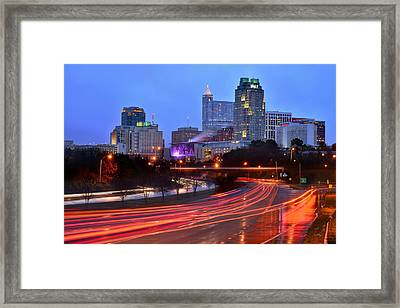 Raleigh Skyline At Dusk Evening Color Evening Panorama North Carolina Nc Framed Print