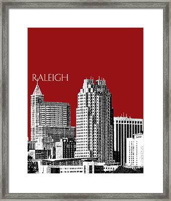 Raleigh Skyline - Dark Red Framed Print by DB Artist
