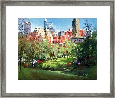 Raleigh Spring Skyline Framed Print