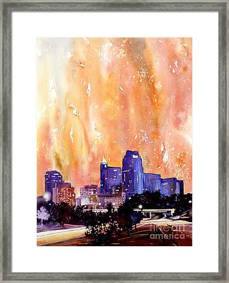 Raligh Skyline Sunset Framed Print by Ryan Fox