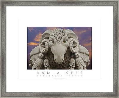 Framed Print featuring the digital art Ram A Sees Naturally Stoned Poster by David Davies