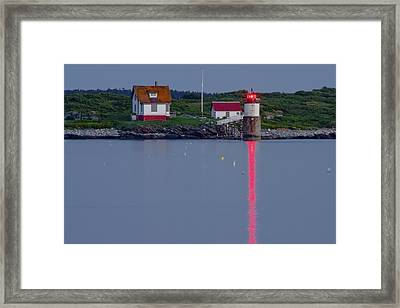 Ram Island Lighthouse At Night Maine  Framed Print