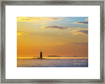 Ram Island Lighthouse Casco Bay Maine Framed Print by Diane Diederich