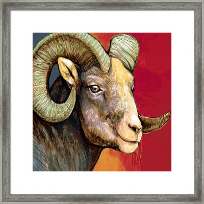 Ram - Sheep Stylised Drawing Art Poster Framed Print