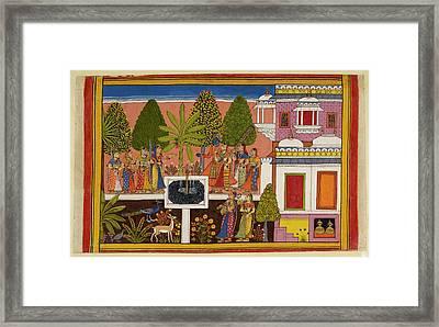 Rama And Sita Are United In Marital Happi Framed Print