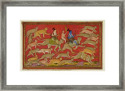 Rama Sets Out With The Monkey Army Framed Print