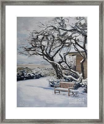 Ranch Bench In Winter Framed Print by Lori Pittenger