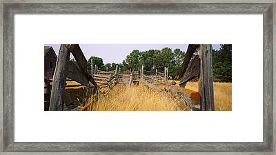 Ranch Cattle Chute In A Field, North Framed Print by Panoramic Images