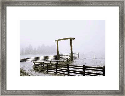 Ranch Gate In Foggy Snow Framed Print by Kae Cheatham