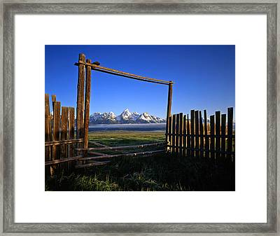 Ranch Gate Framed Print by Mike Norton