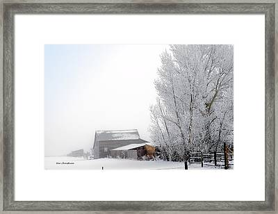 Ranch In Frozen Fog Framed Print by Kae Cheatham