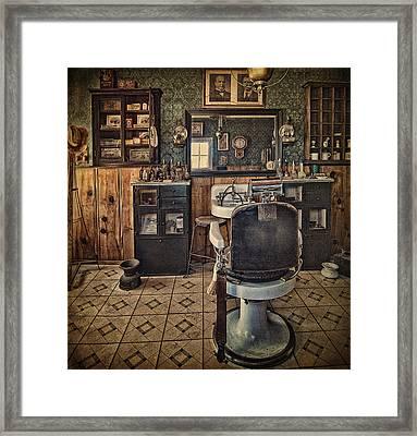 Randsburg Barber Shop Interior Framed Print by Priscilla Burgers