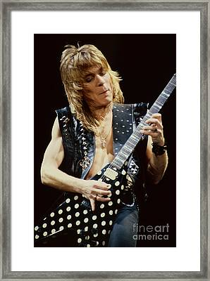 Randy Rhoads At The Cow Palace During Guitar Solo Framed Print