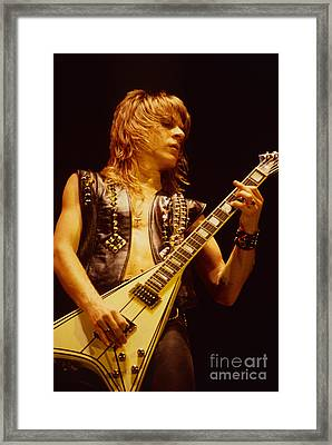 Randy Rhoads At The Cow Palace In San Francisco Framed Print by Daniel Larsen