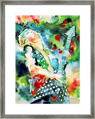 Randy Rhoads Playing The Guitar - Watercolor Portrait Framed Print