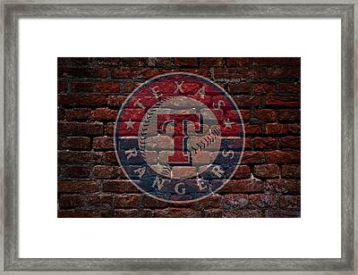 Rangers Baseball Graffiti On Brick  Framed Print